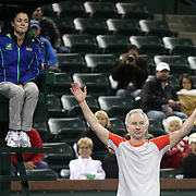 March 1, 2014, Indian Wells, California: <br /> John McEnroe argues with the referee during the McEnroe Challenge for Charity presented by Esurance in Stadium 2 at the Indian Wells Tennis Garden. <br /> (Photo by Billie Weiss/BNP Paribas Open)