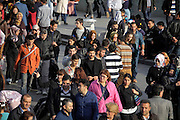 street scene with crowd Istanbul Turkey
