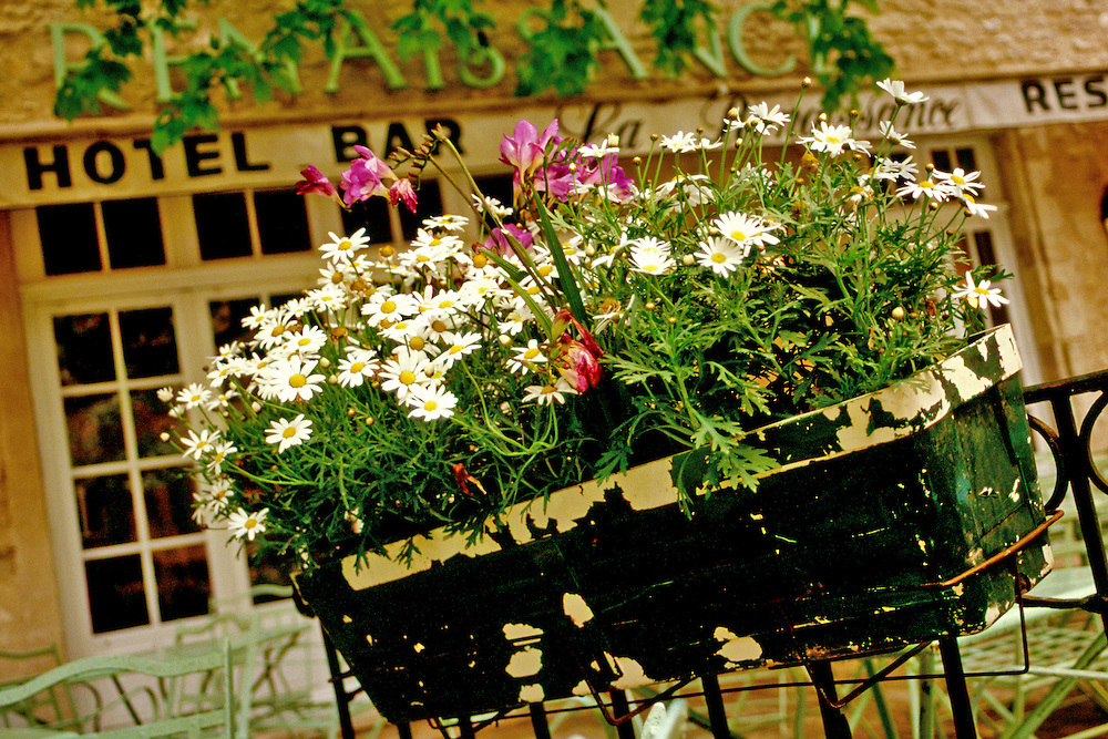 Flower filled window box in front of Hotel Bar, France
