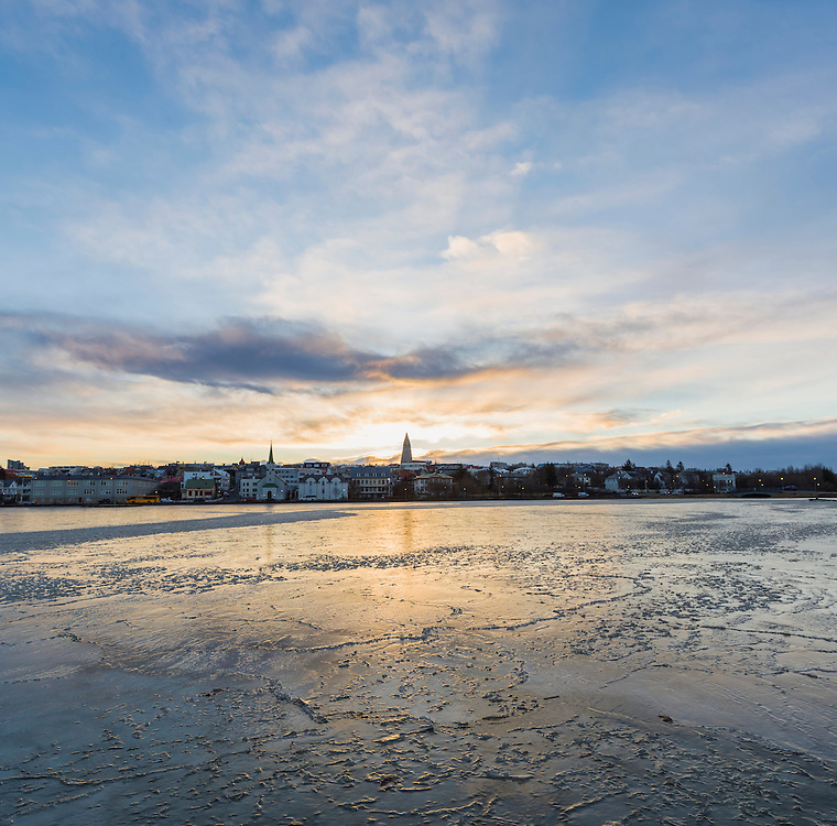 Sunrise over Reykjavik.