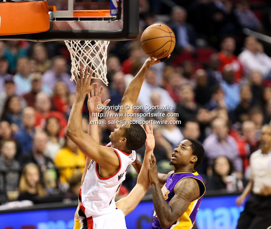 Feb. 11, 2015 - CJ MCCOLLUM (3) drives to the hoop for two points. The Portland Trail Blazers play the Los Angeles Lakers at the Moda Center on February 11, 2015