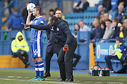 Queens Park Rangers Manager Jimmy Floyd Hasselbaink  with instructions during the EFL Sky Bet Championship match between Sheffield Wednesday and Queens Park Rangers at Hillsborough, Sheffield, England on 22 October 2016. Photo by Simon Davies.