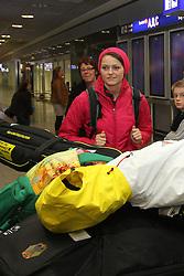 14.02.2014, Fraport, Fankfurt, GER, Sochi, 2014, Ankunft, im Bild Olympiasiegerin Carina Vogt am Flughafen Frankfurt, // during the Arrival of Olympic Skijumping Champion Carina Vogt at the Fraport in Fankfurt, Germany on 2014/02/14. EXPA Pictures © 2014, PhotoCredit: EXPA/ Eibner-Pressefoto/ RRZ<br /> <br /> *****ATTENTION - OUT of GER*****