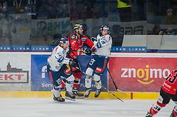 23.02.2018, Ice Rink, Znojmo, CZE, EBEL, HC Orli Znojmo vs Fehervar AV 19, Qualifikationsrunde, im Bild v.l. Joseph Antilla (Fehervar AV19) Andre Lakos (HC Orli Znojmo) Tamas Robert Sarpatki (Fehervar AV19) // during the Erste Bank Icehockey League qualification round match between HC Orli Znojmo and Fehervar AV 19 at the Ice Rink in Znojmo, Czech Republic on 2018/02/23. EXPA Pictures © 2018, PhotoCredit: EXPA/ Rostislav Pfeffer