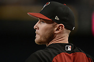 PHOENIX, AZ - AUGUST 10:  <br /> Chris Herrmann #10 of the Arizona Diamondbacks looks on during batting practice for the MLB game against the Los Angeles Dodgers at Chase Field on August 10, 2017 in Phoenix, Arizona.  (Photo by Jennifer Stewart/Getty Images)