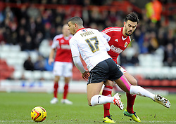 Milton Keynes Dons' Daniel Powell  is fouled by Bristol City's Marlon Pack - Photo mandatory by-line: Joe Meredith/JMP - Tel: Mobile: 07966 386802 18/01/2014 - SPORT - FOOTBALL - Ashton Gate - Bristol - Bristol City v MK Dons - Sky Bet League One