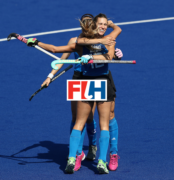 RIO DE JANEIRO, BRAZIL - AUGUST 13:  Martina Cavellero of Argentina celebrates after scoring a goal during the Women's pool B hockey match between Argentina and India on Day 8 of the Rio 2016 Olympic Games at the Olympic Hockey Centre on August 13, 2016 in Rio de Janeiro, Brazil.  (Photo by David Rogers/Getty Images)