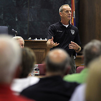 Jim Johnson, Lee County Sheriff, addresses Lee County residents during a public hearing for a new jail Tuesday night at the Lee County Justice Center. Johnson spoke of the problems he and his staff face on a daily basis with the facility they operate out of now.