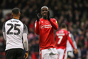 Albert Adomah of Nottingham Forest during the EFL Sky Bet Championship match between Nottingham Forest and Derby County at the City Ground, Nottingham, England on 9 November 2019.