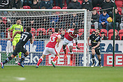 Semi Ajayi (Rotherham United) heads the ball clear during the EFL Sky Bet Championship match between Rotherham United and Blackburn Rovers at the AESSEAL New York Stadium, Rotherham, England on 11 February 2017. Photo by Mark P Doherty.