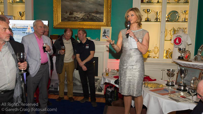 Current class hon. secretary Marie Barry speaking at the reunion night to celebrate 50 years of the Irish Fireball Class, held at the Royal St George YC.