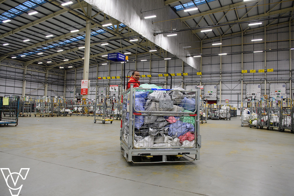 Stock / generic photographs taken at the Royal Mail's Yorkshire Distribution Centre, Normanton.  <br /> <br /> Moving empty bags around the shop floor<br /> <br /> Picture: Chris Vaughan Photography<br /> Date: November 15, 2016