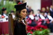 Rome dec 10th 2015, Queen of Jordan receives honorary degree in International Cooperation from University of Rome ' La Sapienza '. In the picture Rania Al Abdullah of Jordan