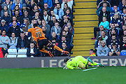 Birmingham City's Tomasz Kuszczak collects the ball from Wolverhampton Wanderers Dominic Iorfa during the Sky Bet Championship match between Birmingham City and Wolverhampton Wanderers at St Andrews, Birmingham, England on 31 October 2015. Photo by Shane Healey.