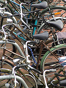 close up of bicycles in a rack