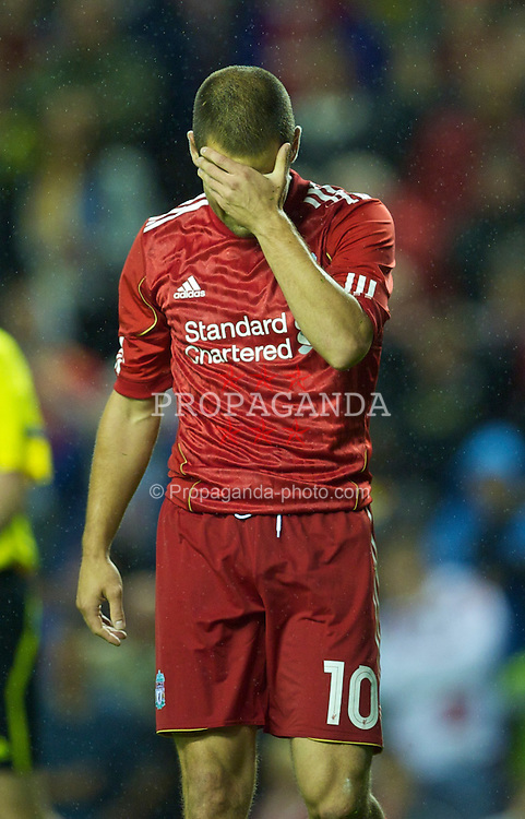 LIVERPOOL, ENGLAND - Thursday, August 19, 2010: Liverpool's Joe Cole looks dejected after missing a penalty against Trabzonspor during the UEFA Europa League Play-Off 1st Leg match at Anfield. (Pic by: David Rawcliffe/Propaganda)