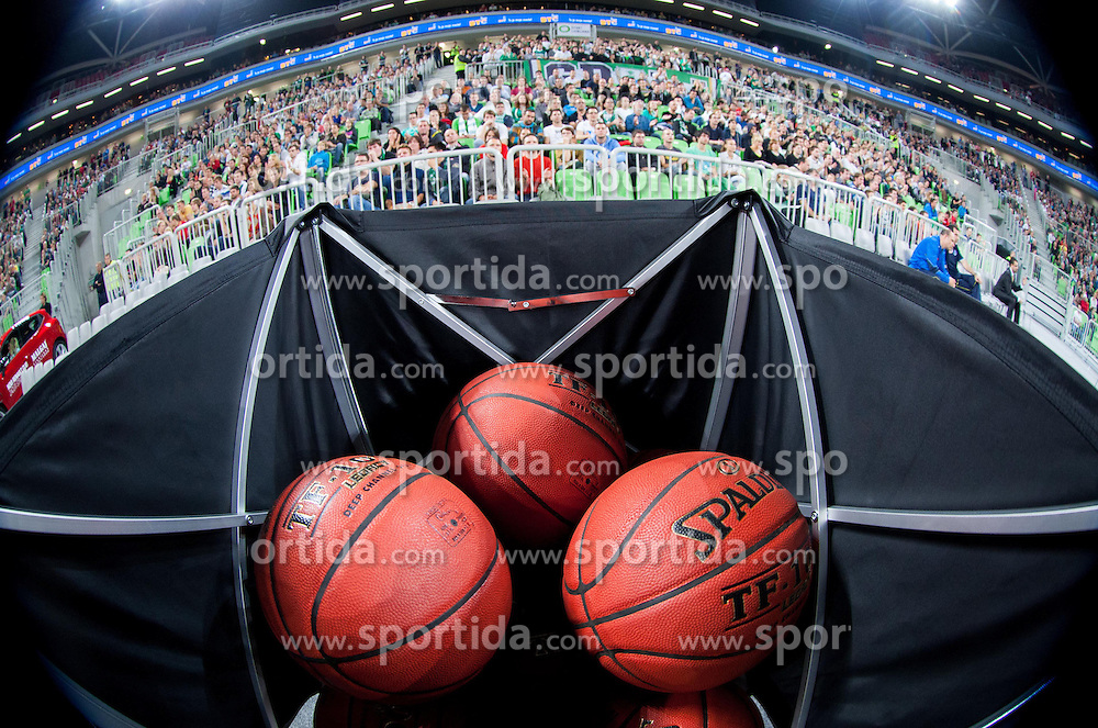 Spalding balls during basketball match between KK Union Olimpija and Fenerbahce Ulker Istanbul (TUR)  in 2nd Round of Regular season of Euroleague 2012/13 on October 19, 2012 in Arena Stozice, Ljubljana, Slovenia. Fenerbahce Ulker defeated Union Olimpija 81-75. (Photo By Vid Ponikvar / Sportida)