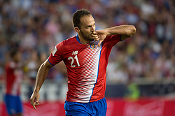 """September 1, 2017 - Harrison, New Jersey, U.S - Costa Rica forward MARCO URE""""A (21) celebrates his goal, the first of the match during a World Cup qualifier match at Red Bull arena in Harrison, NJ.  Costa Rica defeats USA 2 to 0. (Credit Image: © Mark Smith via ZUMA Wire)"""