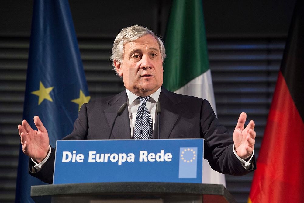 09 NOV 2017, BERLIN/GERMANY:<br /> Antonio Tajani, Praesident des Europaeischen Parlaments, haelt die 8. Europa-Rede, ein Kooperationsprojekt der Konrad-Adenauer-Stiftung, der Schwarzkopf-Stiftung Junges Europa, der Stiftung Zukunft Berlin und der Mercator Stiftung, Allianz Forum<br /> IMAGE: 20171109-01-078<br /> KEYWORDS: Europarede