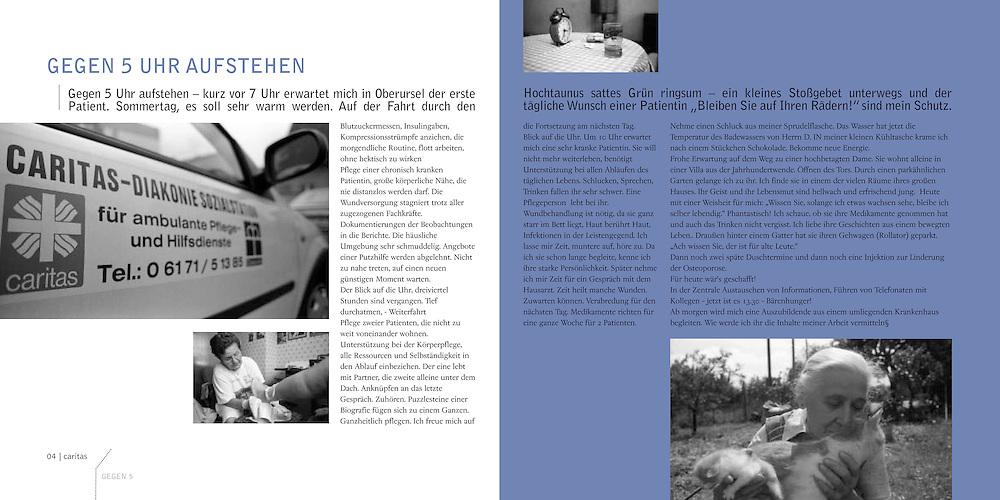 """Publication for the charitable services """"Caritas"""" Oberursel for their 25th anniversary. (""""Ökumenische Sozialstation für Ambulante Pflege- und Hilfsdienste"""") Photography: Lucie Steinzova, Björn Steinz Graphic design : Michal Holik"""