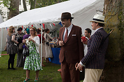 © licensed to London News Pictures. London, UK 08/07/2012. People enjoying the Chap Olympiad in Bedford Square Gardens in central London today. Photo credit: Tolga Akmen/LNP