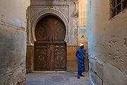 Door to mosque, inside the medieval city of Fes el Bali