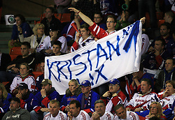 Fans of Robert Kristan - Lix at ice-hockey match Slovenia vs Latvia at Preliminary Round (group B) of IIHF WC 2008 in Halifax, on May 06, 2008 in Metro Center, Halifax, Nova Scotia, Canada. Latvia won 3:0. (Photo by Vid Ponikvar / Sportal Images)Slovenia played in old replika jerseys from the year 1966, when Yugoslavia hosted the World Championship in Ljubljana.