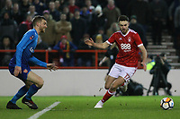 Nottingham Forest's Ben Brereton looks to find a way past Per Mertesacker  during The Emirates FA Cup Third Round match between Nottingham Forest and Arsenal at City Ground on January 7, 2018 in Nottingham, England..