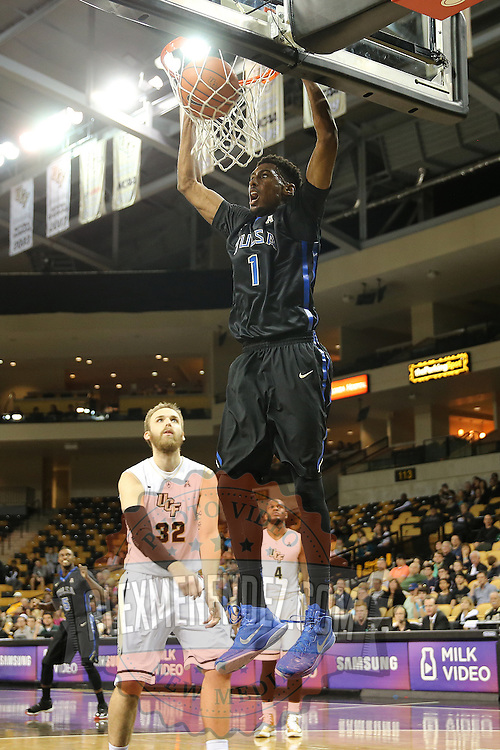 ORLANDO, FL - DECEMBER 31:  Rashad Smith #1 of the Tulsa Golden Hurricane slam dunks the ball during an NCAA basketball game against the UCF Knights at the CFE Arena on December 31, 2014 in Orlando, Florida. (Photo by Alex Menendez/Getty Images) *** Local Caption *** Rashad Smith
