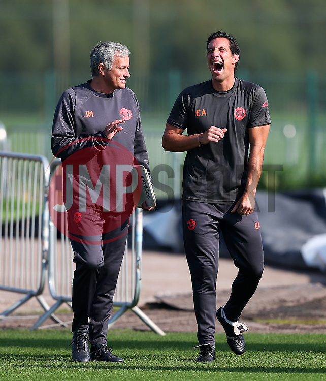 Manchester United manager Jose Mourinho shares a joke with coach Emilio Alvarez - Mandatory by-line: Matt McNulty/JMP - 14/09/2016 - FOOTBALL - Manchester United - Training session ahead of Europa League Group A match against Feyenoord