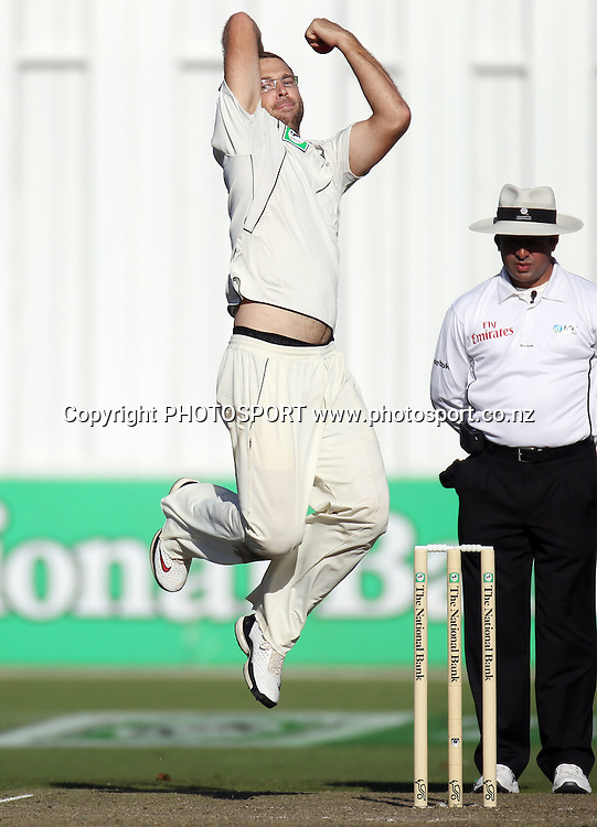 New Zealand captain Daniel Vettori bowling during his 100th test match for New Zealand.<br />Test Match Cricket. 2nd test. Day 1.<br />New Zealand Black Caps versus Australia. Seddon Park, Hamilton, New Zealand. Saturday 27 March 2010. <br />Photo: Andrew Cornaga/PHOTOSPORT