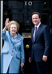 British Prime Minister David Cameron greets former Prime Minister Baroness Thatcher on the steps of Number 10 Downing Street, , Tuesday June 8, 2010.  Photo By Andrew Parsons/i-Images<br /> <br /> File photo - One year ago: Baroness Thatcher died.<br /> On Tue, Apr 8 2014 it will be one year since the Longest-serving UK Prime Minister of the 20th century, the first and only woman to serve in the role to date, died on April 8, 2013  after suffering a stroke.