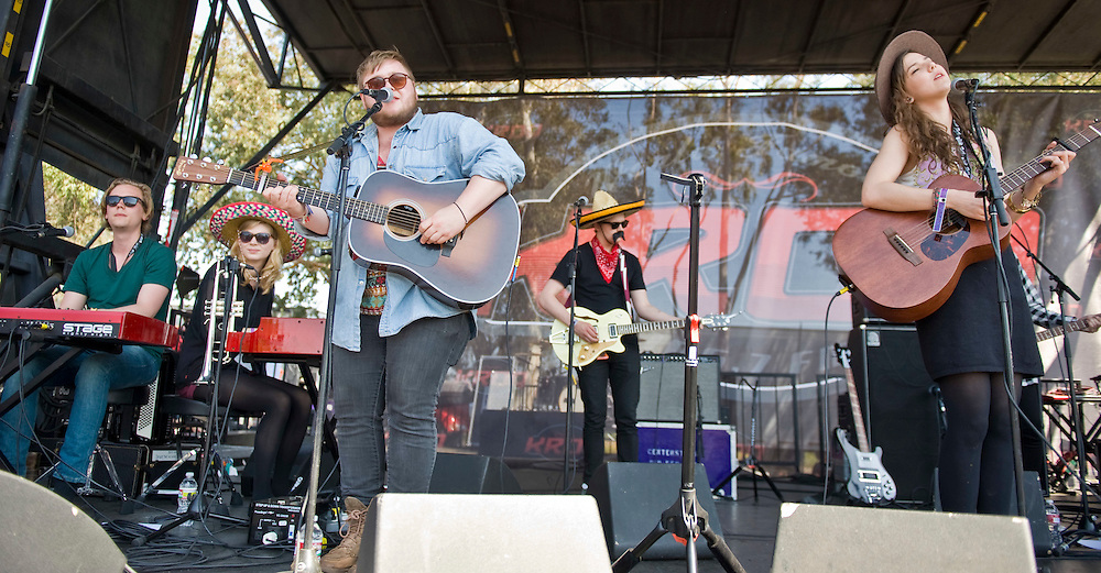 Of Monsters and Men perform on the second stage during the KROQ Weenie Roast y Fiesta Saturday.