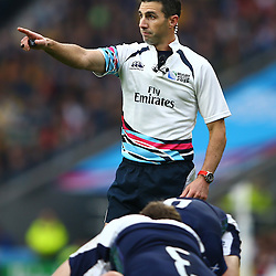 LONDON, ENGLAND - OCTOBER 18: Referee: Referee Craig Joubert (South Africa) during the Rugby World Cup Quarter Final match between Australia v Scotland at Twickenham Stadium on October 18, 2015 in London, England. (Photo by Steve Haag)