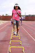 CAPE TOWN, SOUTH AFRICA - MARCH 10: Dominique Darden of Florida (USA) during the TrackGirlz events at University of Western Cape on March 10, 2018 in Cape Town, South Africa. (Photo by Roger Sedres/ImageSA)