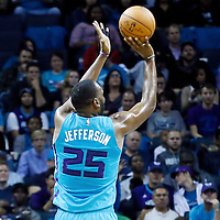 01 November 2015: Charlotte Hornets center Al Jefferson (25) takes a jump shot during the Atlanta Hawks 94-92 victory over the Charlotte Hornets, at the Time Warner Cable Arena, in Charlotte, North Carolina, USA.