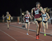 Gwen Jorgensen wins the women's 10,000m  in 31:55.68 in the Stanford Invitational in Stanford, Calif., Friday, Mar 30, 2018. (Gerome Wright/Image of Sport)
