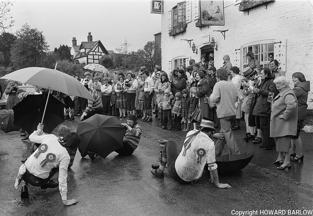 Bollin Morris Dancers perform outside the Swan With Two Nicks pub in Dunham Massey, Cheshire 1978