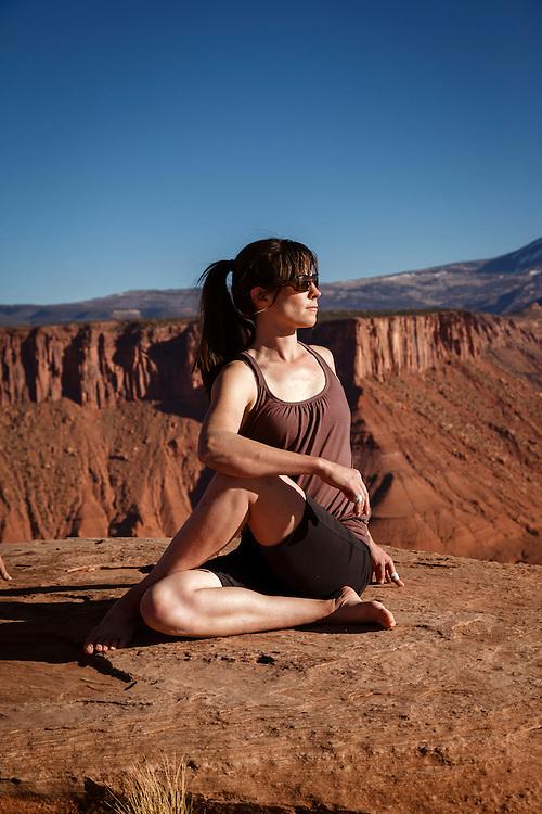 Julia Geisler practices yoga on Castleton Tower.