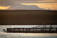 Cages at a salmon farm on the west coast of Scotland.<br /> <br /> Photograph © Colin McPherson, 2019 all rights reserved