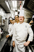 Chef Yannis Martineau and his team in the kitchen on the Eastern & Oriental Train
