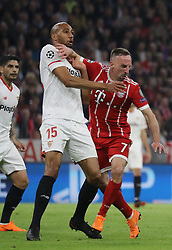 11.04.2018, Allianz Arena, Muenchen, GER, UEFA CL, FC Bayern Muenchen vs Sevilla FC, Viertelfinale, R&uuml;ckspiel, im Bild Franck Ribery und Steven N'Zonzi // during the UEFA Champions League Quarterfinal, 2nd leg Match between FC Bayern Muenchen vs Sevilla FC at the Allianz Arena in Muenchen, Germany on 2018/04/11. EXPA Pictures &copy; 2018, PhotoCredit: EXPA/ SM<br /> <br /> *****ATTENTION - OUT of GER*****