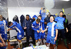 Peterborough United players celebrate reaching the Johnstone's Paint Trophy at Wembley - Photo mandatory by-line: Joe Dent/JMP - Tel: Mobile: 07966 386802 17/02/2014 - SPORT - FOOTBALL - Swindon - County Ground - Swindon Town v Peterborough United - Johnstone's Paint Trophy - Southern Area Final - Second Leg