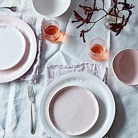 looks like white glossy pink porcelain serve ware