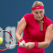 August 21, 2014, New Haven, CT:<br /> Petra Kvitova hits a backhand during a match against Barbora Zahlavova Strycova on day seven of the 2014 Connecticut Open at the Yale University Tennis Center in New Haven, Connecticut Thursday, August 21, 2014.<br /> (Photo by Billie Weiss/Connecticut Open)