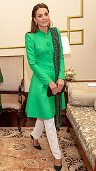 The Duchess of Cambridge during an official meeting with the President of Pakistan Arif Alvi and first lady Samina Alvi at the Presidential Palace in Islamabad during the second day of the royal visit.