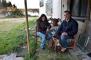 Roma Gennaio 2007  .Una coppia di italiani vive nei locali dell'ex  depuratore dell'acqua al quartiere di Tor Bella Monaca..Roma Gennaio 2007  .An Italian couple living in the local of the water purifier in the district of Tor Bella Monaca.