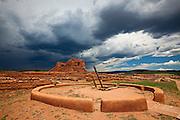 Kiva and church ruins at Pecos National Historical Park. Pecos, New Mexico.