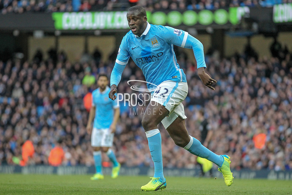 Yaya Touré (Manchester City) during the Barclays Premier League match between Manchester City and Tottenham Hotspur at the Etihad Stadium, Manchester, England on 14 February 2016. Photo by Mark P Doherty.
