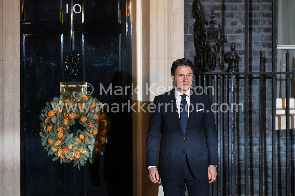 London, UK. 3 December, 2019. Giuseppe Conte, Prime Minister of Italy, arrives for a reception for NATO leaders at 10 Downing Street on the eve of the military alliance's 70th anniversary summit at a luxury hotel near Watford.